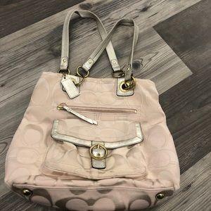 Coach Penelope Signature Pink & Gold Tote Bag